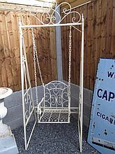 Painted Metal Swinging Garden Seat with Decorated