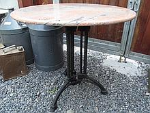 Marble Top Table on Cast Iron Base 30 Inches