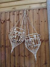 Painted Pair of Cast Metal Hanging Baskets with