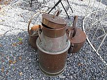 Old Cast Metal Kettle with Copper Churn and Coal