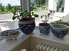 Lot of Three Blue and White Ceramic Planters and