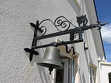 Victorian Bronze Wall Mounted Bell with Wrought