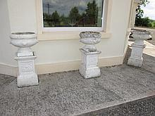 Three Composite Edwardian Stone Garden Urns 33