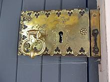 Antique Brass Door Lock with Decorated Brass Plate