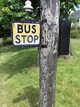 Vintage Cast Metal Bus Stop Sign 11 Inches High
