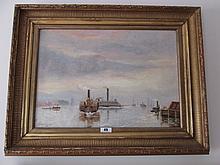 Edmond Murphy Harbour Scene Dated 1884 14 Inches