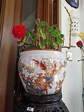 Oriental Ceramic Plant Pot with Avian Decoration