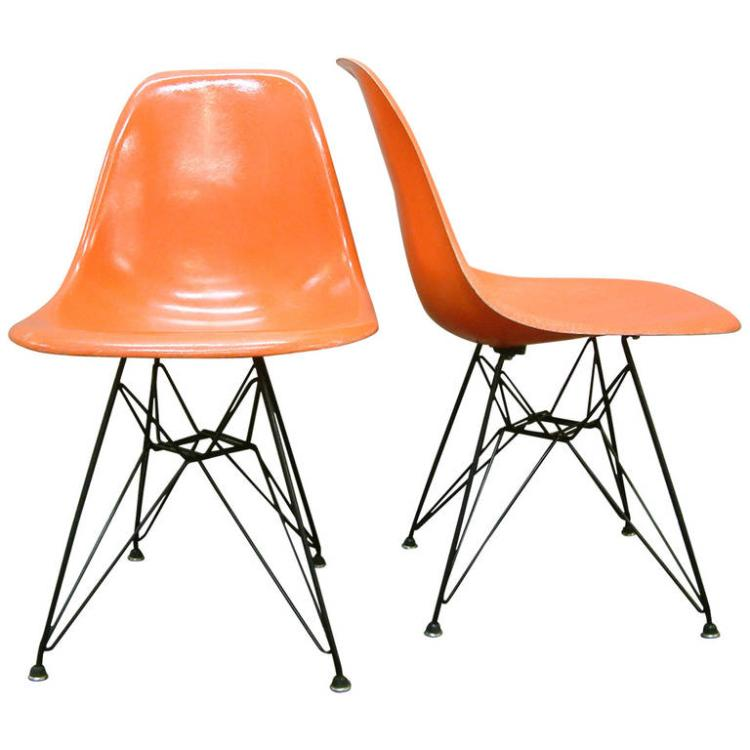 Pair Charles and Ray Eames DSR Fiberglass Side Chairs