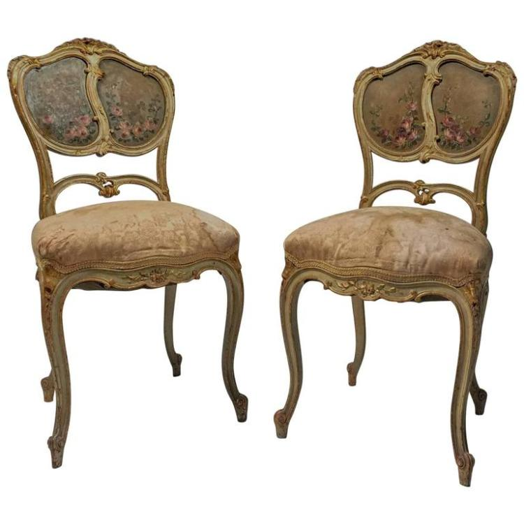 Pair of French Gilt and Painted Late 19th Century Boudoir Chairs, France