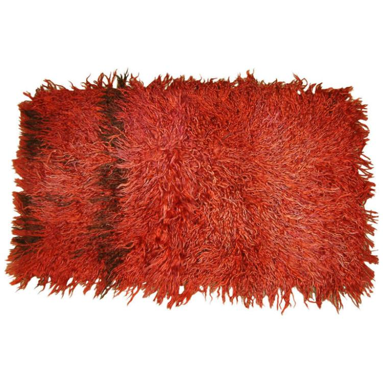 Vintage Turkish Angora Red Long Pile Tulu Rug, circa 1960