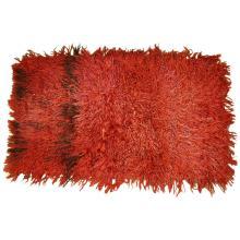 Vintage Turkish Angora Red Long Pile Tulu Rug, circa 1960