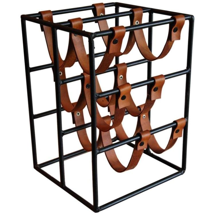 Arthur Umanoff Leather and Polychromed Steel Wine Rack for Raymor
