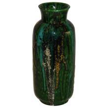 Raymor Hi-Glaze Green Drip Ceramic Vase, Italy, circa 1950