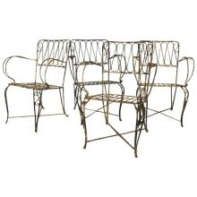 Four French Forged Armchairs Style of Raymond Subes France, c. 1940