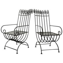 Pair of Highback, French, 1940s Style Forged Iron Garden Chairs, France