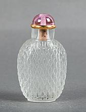 CHINESE GLASS CARVED BASKET WAVE SNUFF BOTTLE