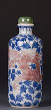 CHINESE BLUE WHITE IRON RED DRAGON SNUFF BOTTLE