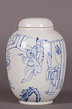 CHINESE BLUE AND WHITE FIGURAL COVER JAR