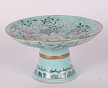 CHINESE TURQUOISE GROUND FAMILLE ROSE STEM PLATE