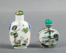 TWO CHINESE FAMILLE ROSE SNUFF BOTTLES