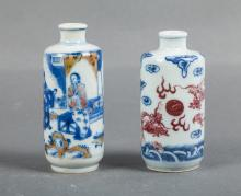 TWO CHINESE BLUE WHITE IRON RED SNUFF BOTTLES