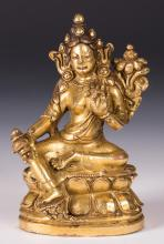 CHINESE GILT BRONZE FIGURE OF TARA