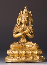 CHINESE GILT BRONZE FIGURE OF MAITREYA
