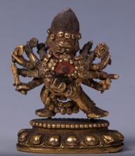 CHINESE GILT BRONZE FIGURE OF YAMANTAKA