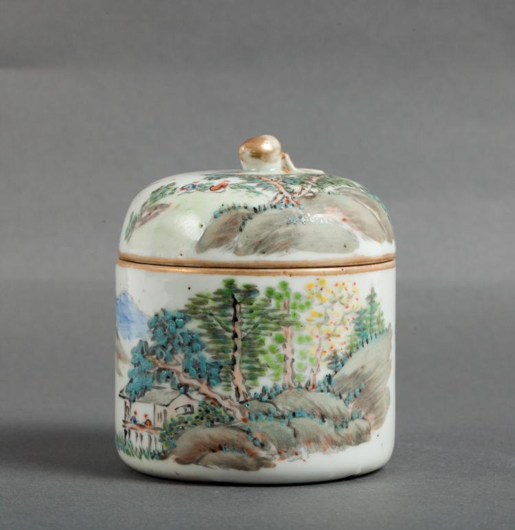 CHINESE QIANJIANG PAINTED PORCELAIN COVER JAR