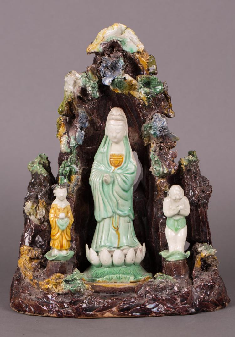 CHINESE SANCAI FIGURE OF GUANYIN, BOY AND GIRL