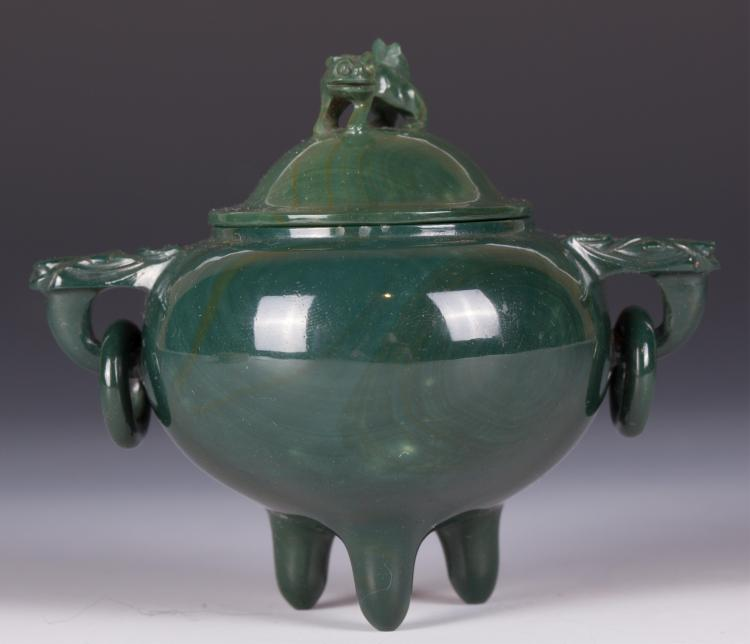 CHINESE AGATE CARVED TRIPOD COVER CENSER