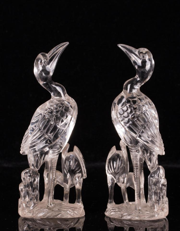 PAIR OF CHINESE CRYSTAL CRANE