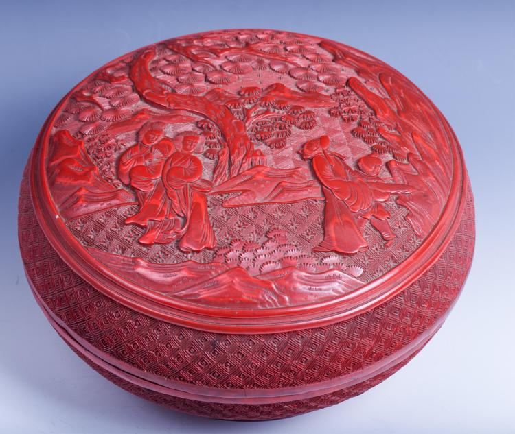 CHINESE QING DYNASTY CINNABAR LACQUER BOX