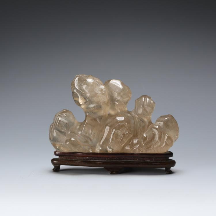 CHINESE ROCK CRYSTAL CARVED BURHS REST