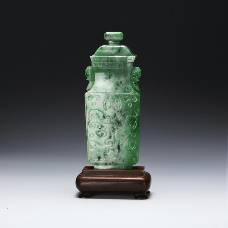CHINESE SPINACH JADE COVER VASE