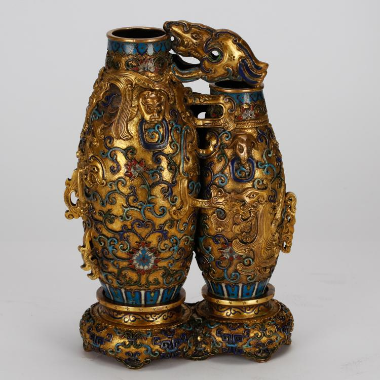 CHINESE GILT BRONZE ENAMEL TWIN VASE
