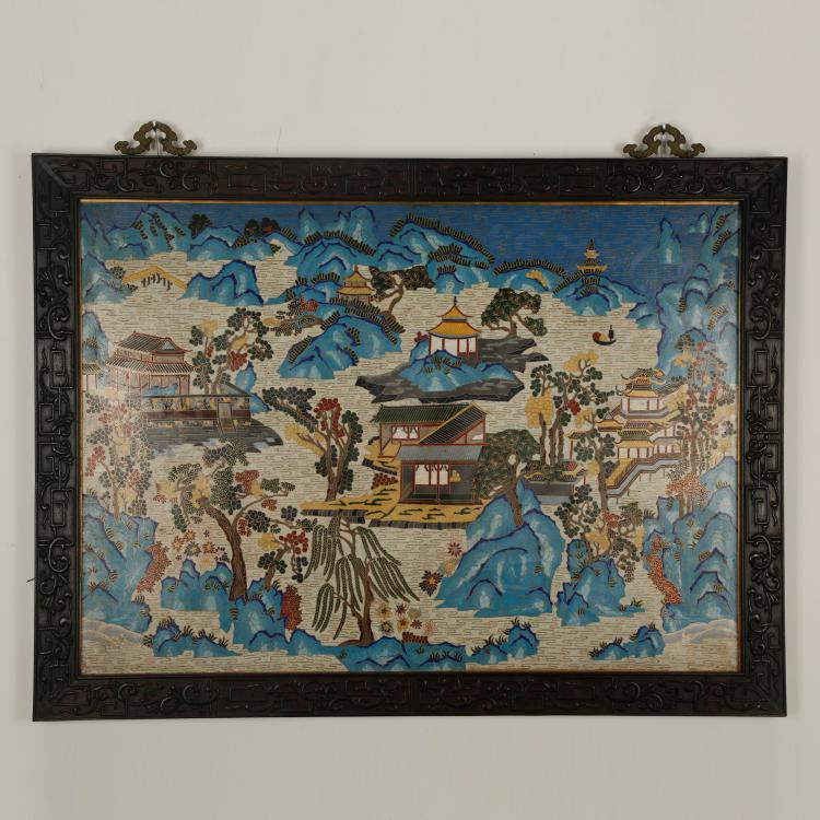 CHINESE CLOISONNE ENAMEL LANDSCAPE WALL PANEL