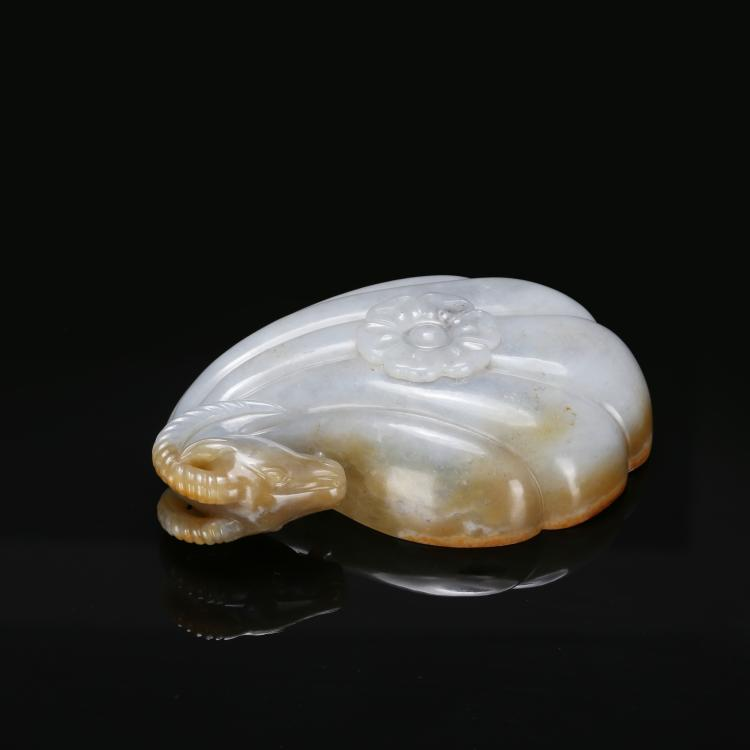 CHINESE MUGHAL STYLE JADE RAM WATER COUPE