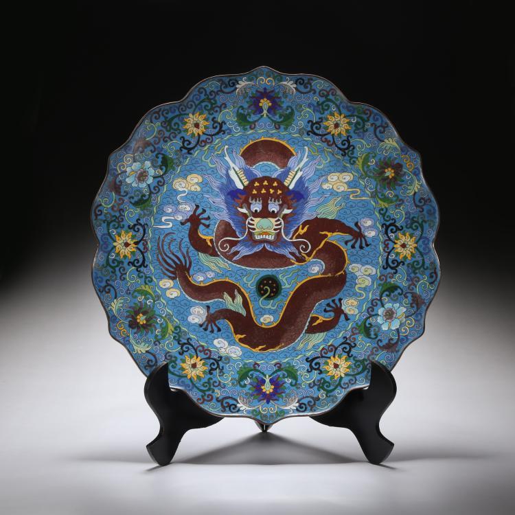 CHINESE CLOISONNE ENAMEL DRAGON PLATE