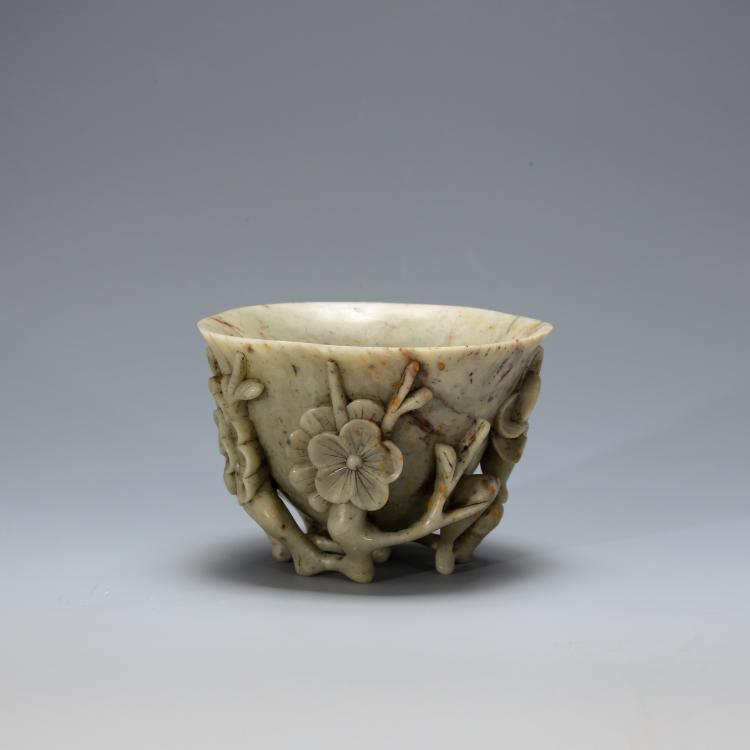 CHINESE SOAPSTONE CARVED FLOWER CUP