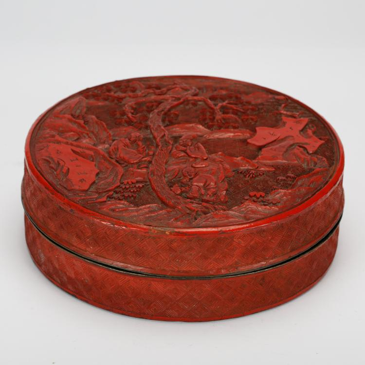 CHINESE CINNABAR LACQUER COVER BOX
