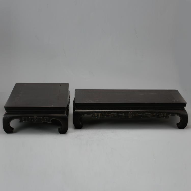 CHINESE ZITAN WOOD STANDS, PAIR