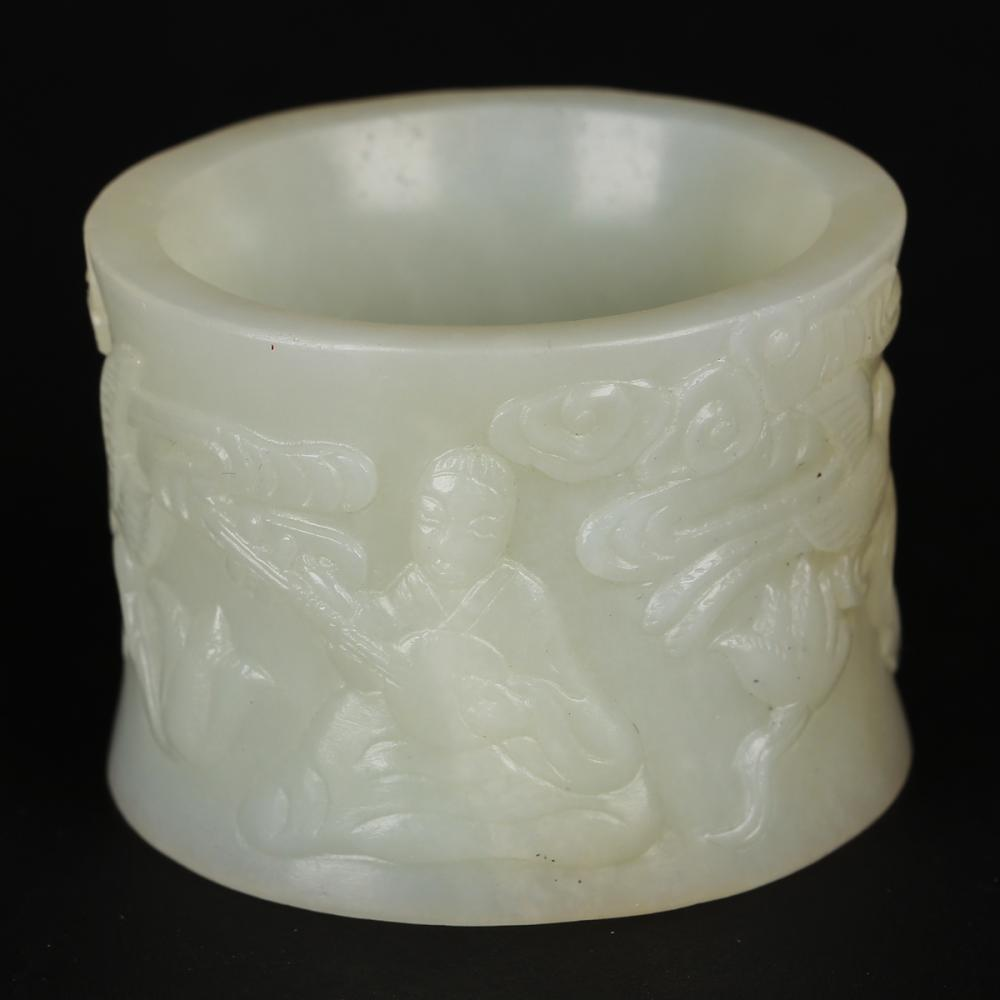 CHINESE WHITE JADE THUMB RING