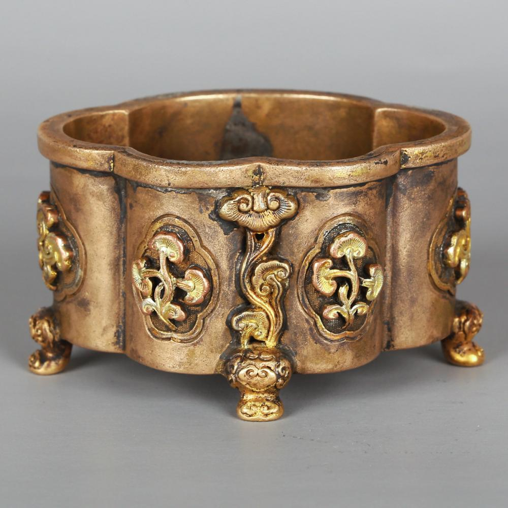CHINESE BRONZE LOBBED SHAPE CENSER