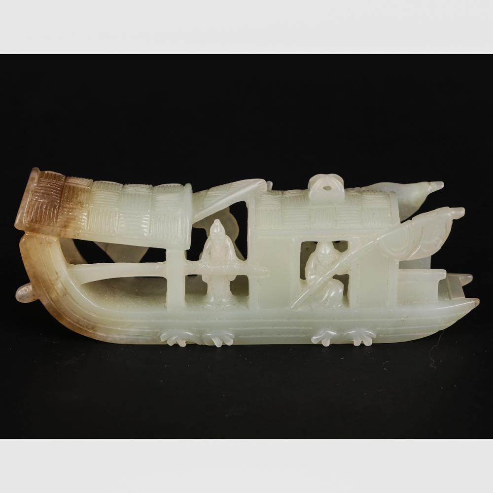 CHINESE WHITE JADE CARVED FISHING BOAT