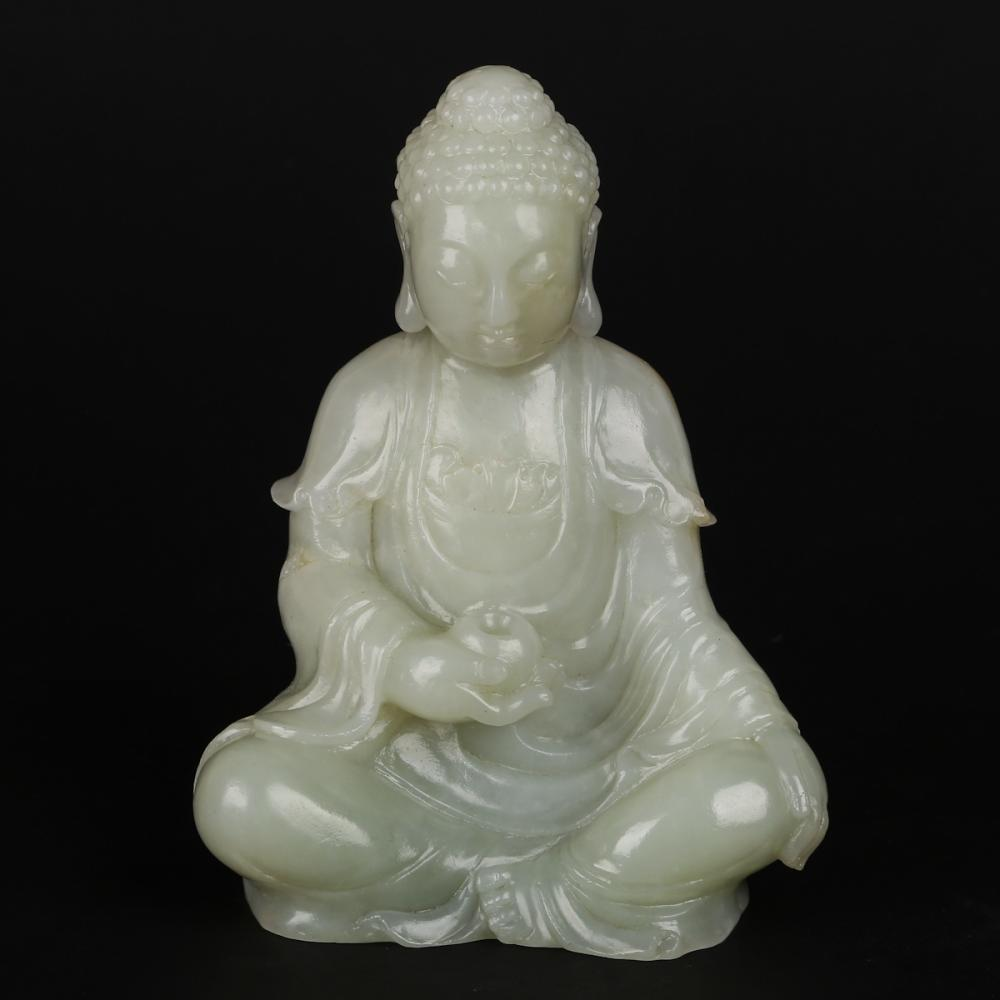 CHINESE WHITE JADE CARVED SEATED GUANYIN