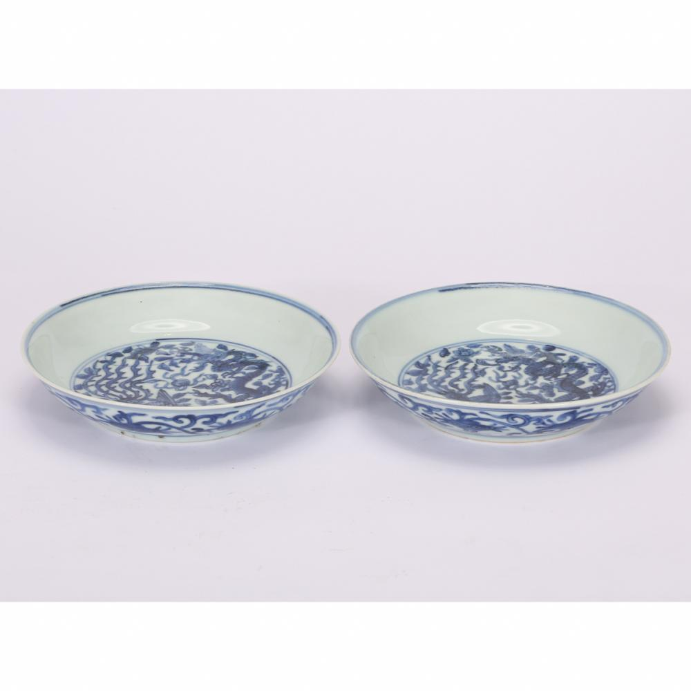 CHINESE PAIR OF BLUE WHITE PORCELAIN PLATE