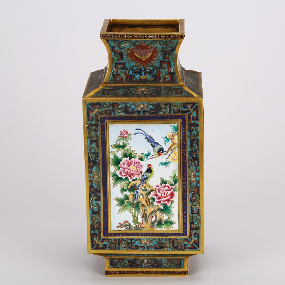 CHINESE CLOISONNE WITH PAINTED ENAMEL FLOWER VASE