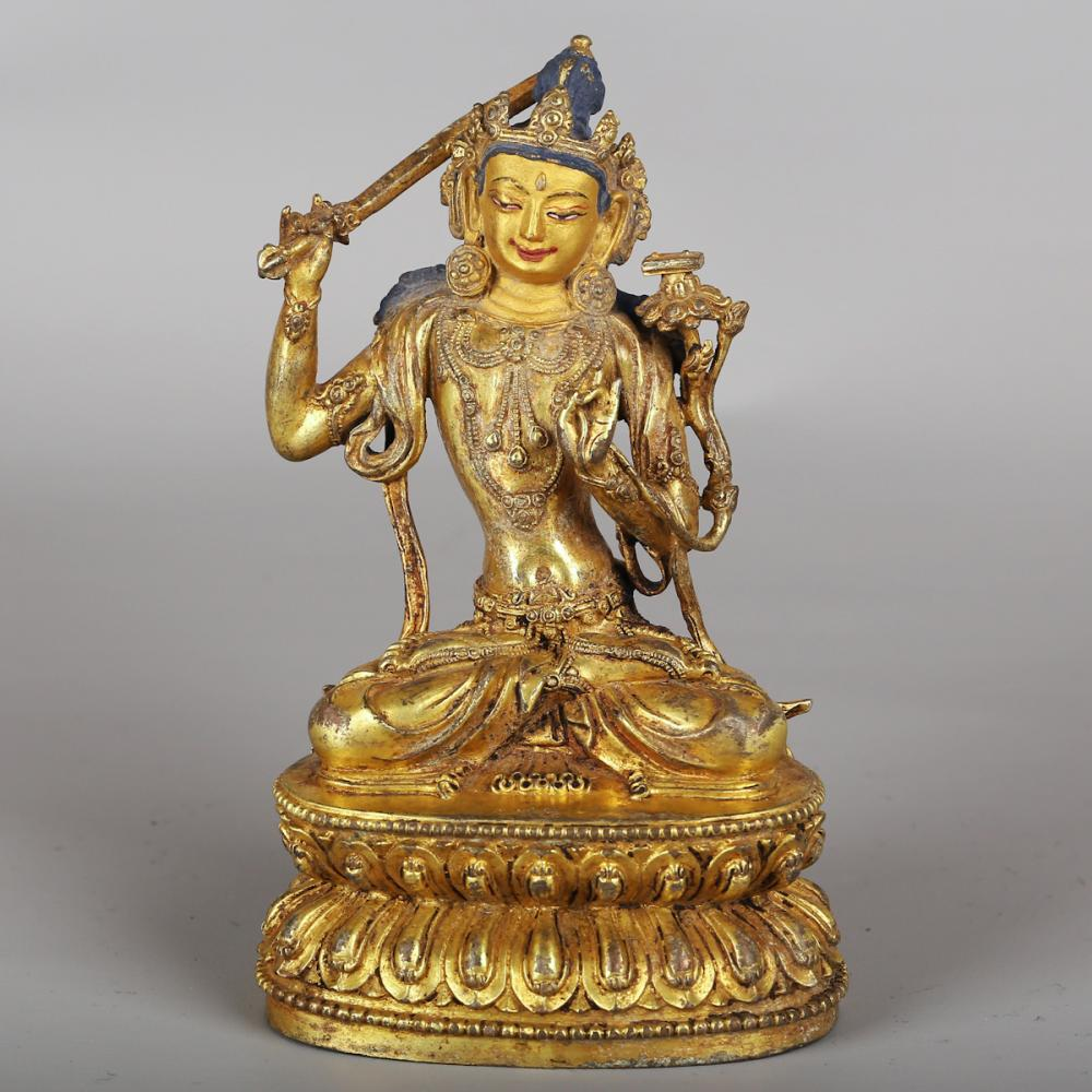 CHINESE GILT BRONZE FIGURE OF MANJUSRI