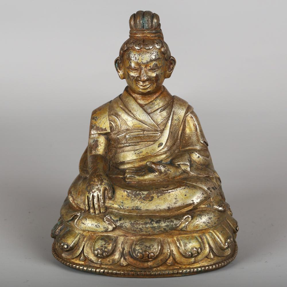 CHINESE GILT SILVER FIGURE OF GURU